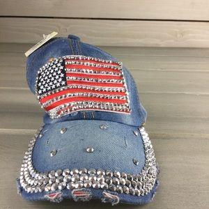 NWT Denim Flag Bling Hat